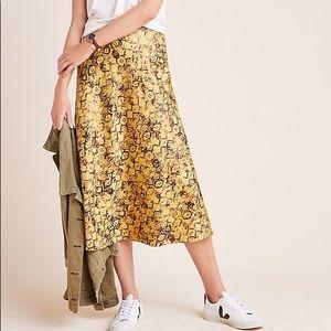 Anthropologie Harmony Metallic Midi Skirt